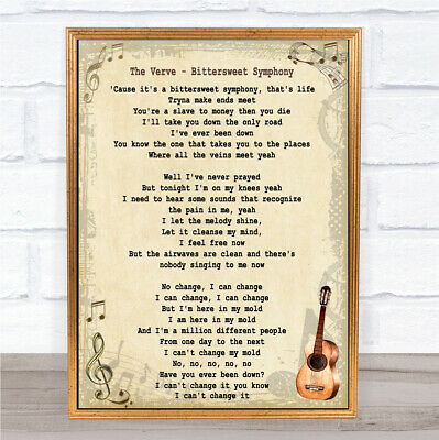 Bittersweet Symphony Song Lyric Vintage Quote Print
