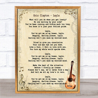 Layla Song Lyric Vintage Quote Print