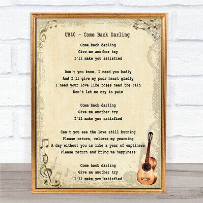 Come Back Darling Song Lyric Vintage Quote Print