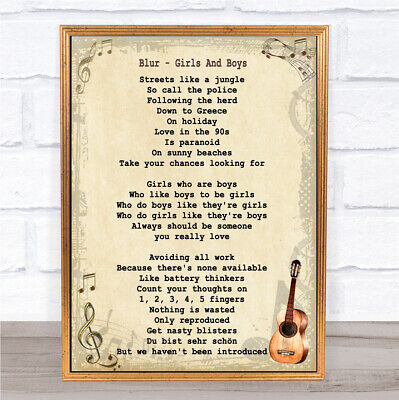 Girls And Boys Song Lyric Vintage Quote Print