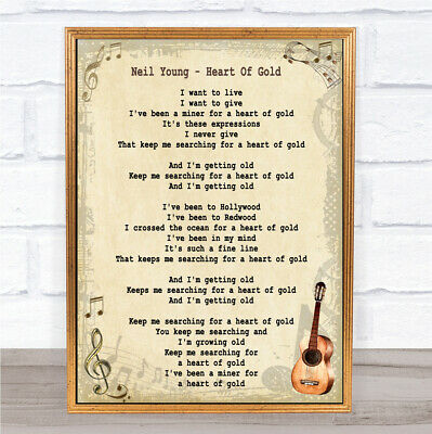 Heart Of Gold Song Lyric Vintage Quote Print
