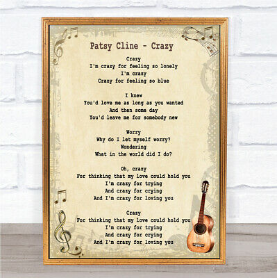 Crazy Song Lyric Vintage Quote Print