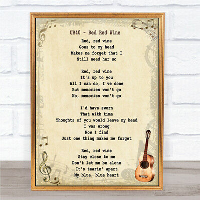 Red Red Wine Song Lyric Vintage Quote Print