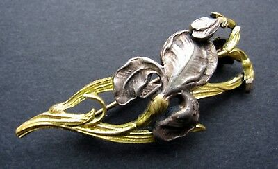 Antique art nouveau deco silver gold plated brooch flower old vintage jugendstil