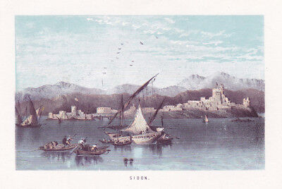 ca. 1860 Sidon Libanon Hafen harbour Ansicht view Lithographie litho lithograph