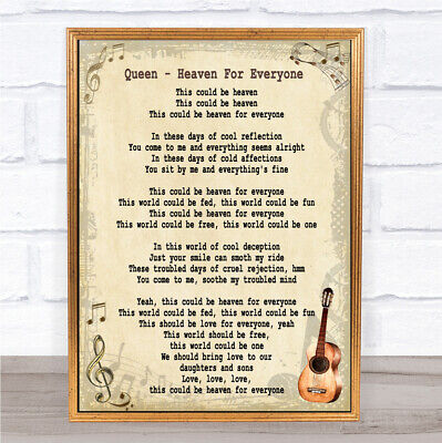 Heaven For Everyone Song Lyric Vintage Quote Print