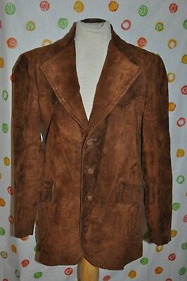 Vintage JIMMY DEAN Mens 40 R Brown suede leather WESTERN BLAZER COAT EUC USA!