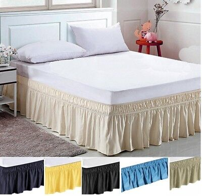 Elastic Bed Skirt Dust Ruffle Easy Fit Any Size King Ca K Queen Full