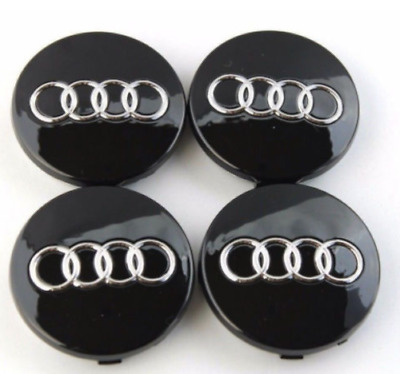 NEW 4Pcs Car Case Caps Cover Wheel Emblem Hub Center 60MM Black for AUDI