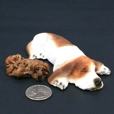 Set of 2 Vintage Basset hound lying down and tiny brown dog family figurines