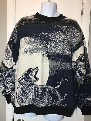 Rare Vintage SUGAR STREET WEAVERS Wolf Sweater Tapestry Coat Jacket One L-XL