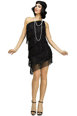 Roaring 20s Prohibition Shimmery Flapper 1920s Adult Costume (Black)