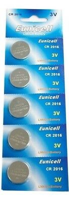 5x EUNICELL CR2016 DL2016 3v LITHIUM BUTTON / COIN CELL BATTERIES