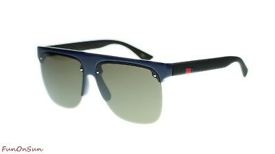 42c95789c46 NEW Gucci Men Sunglasses GG0171S 004 Blue Black Brown Lens Pilot 60mm  Authentic