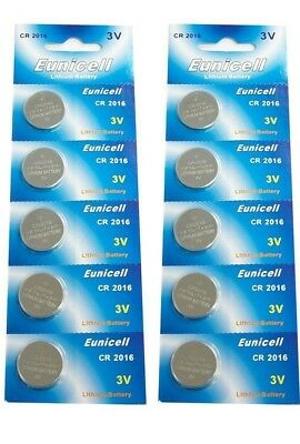 10 X EUNICELL CR2016 DL2016 3v LITHIUM BUTTON / COIN CELL BATTERIES