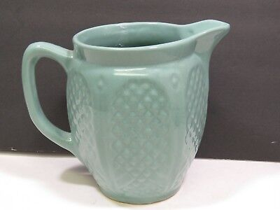 Green RRP Crown Robinson Ransbottom Pottery Pitcher Quilted Diamond Stoneware