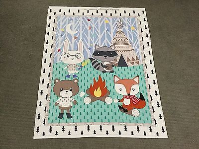 Woodland Animal Fabric Fox Raccoon Bear Rabbit Quilting Unisex Baby Cot Panel