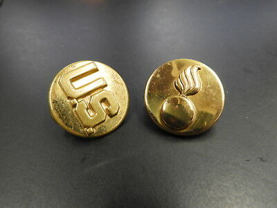 WW2 US Army Enlisted Ordnance Collar Discs Brass Clutch Back Set Insignia tunic