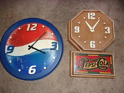 2 Vintage Pepsi Cola Clocks Battery Operated Plastic Both for One Money 70s 80s