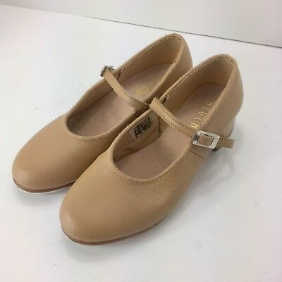 BLOCH Techno Tap Shoes Girls Size 13.5 Youth Dance Leather Tan