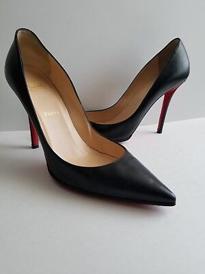 8f6a8417bd60 Christian Louboutin Apostrophy Pointy Toe Leather Pumps Black Size 40.5