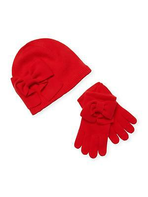 Kate Spade New York Women Charm Red Dorothy Bow Beanie and Glove Box Set 98$+TAX