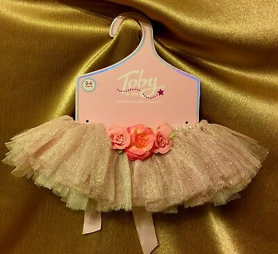 New Toby & Me Infant Tutu Skirt Sz 0-6 Mo. Silver/Pink Silk Flowers/Ties in back