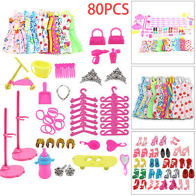 Barbie Doll Dresses, Shoes and jewellery Clothes Accessories 80pcs/Set