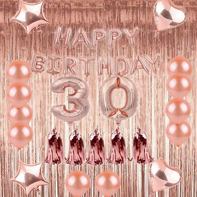 Rose Gold 1/18/21/30/40 Foil Latex Happy Birthday Number Balloon Party Curtain