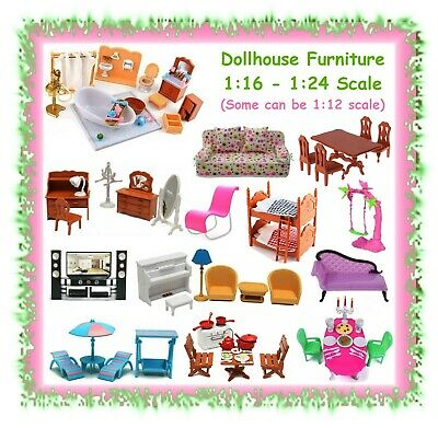 Various dollhouse furniture - fits Barbie & Bratz doll size - plastic doll house