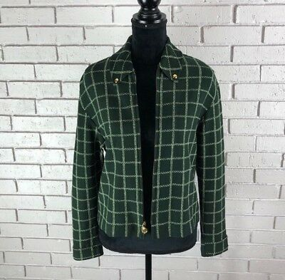 St. John Collection By Marie Gray Green and White Patterned Jacket Size S