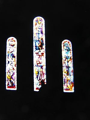 Religious Stained Glass Window from Inside Church Cathedral Vintage 1969 Slide