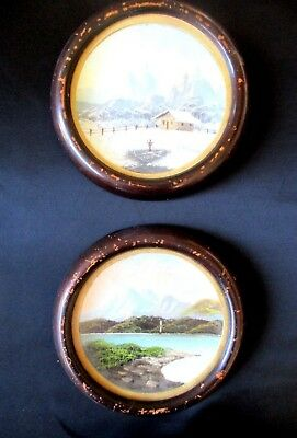 Two Antique Collectable Original Oil Round Scenery Paintings on Metal Tin