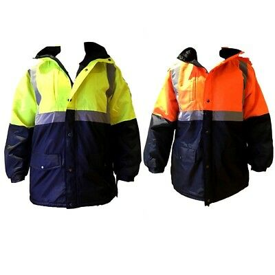 Mens HI VIS Safety Work Wear Jacket Thick Coat w Rib Collar Cuff Feflective Tape