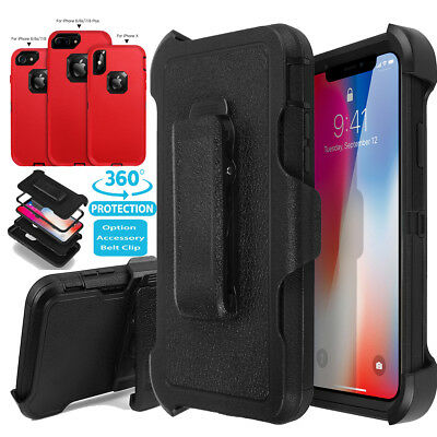 F iPhone X 7 8 6s Plus Hybrid Shockproof Heavy Duty Belt Clip Holster Case Cover