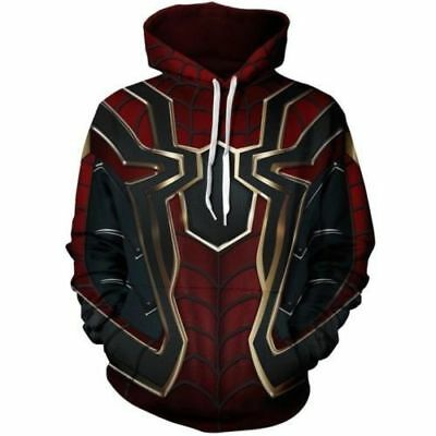 2018 Avengers Infinity War Spiderman  Hoodie Iron spider-man Coat Jacket New
