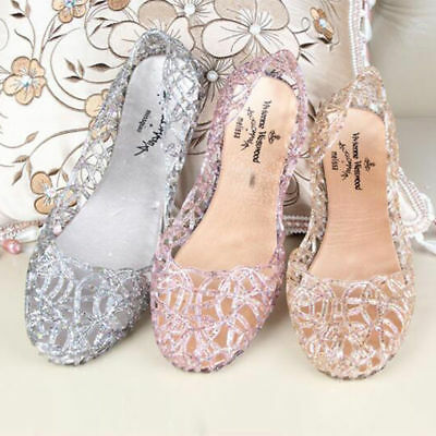 2abac96cad4cbf 1 Pairs Jelly Hollow Glitter Sandals Women Hot Ventilate Crystal Shoes  Summer