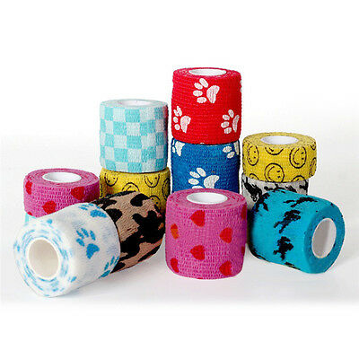 UK Pet Dog Cat Animal Vet Wound Cohesive Bandage Tape Self Adherent Wrap S M