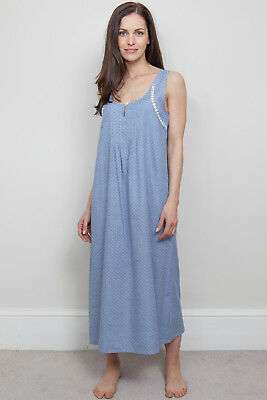 Nora Rose 'Evelyn' Blue & White Long Sleeveless Nightdress RRP £38 ~ SIZE 8