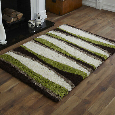 New Large Medium Small Choc Brown Green Beige Cream 5Cm High Pile  Shaggy Rugs