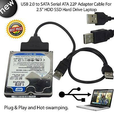 """USB 2.0 to Hard disk Cable Reader Adapter for 2.5"""" HDD SSD SATA Disk Drive PC"""