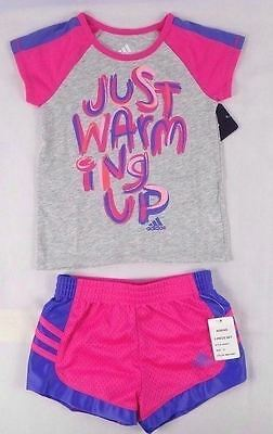"2-Piece /""Just Warming Up/"" Top  Short /& size 24 month Adidas baby Girls set"
