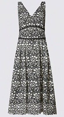 Size 22 Black Mix Floral Lace Dress Marks And Spencer