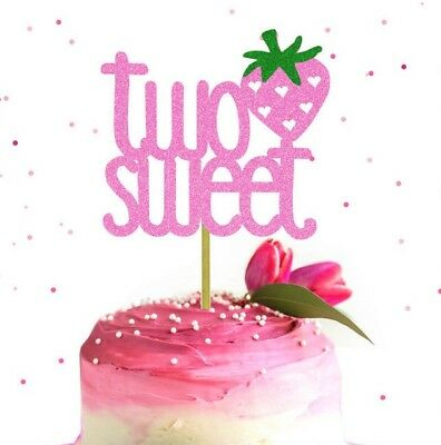 Glitter TWO Sweet Birthday Cake Topper 2nd Strawberry Two