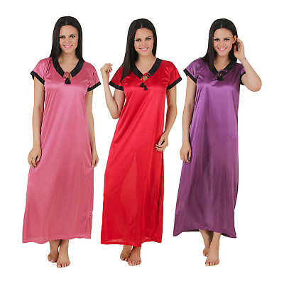 Womens Ladies  Silky Satin Chemise Long Nightdress Nighty Nightshirt Nightie