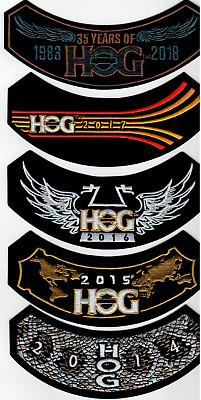 2018, 2017, 2016, 2015 & 2014 HOG Member Patches HARLEY OWNERS GROUP HD MC Life