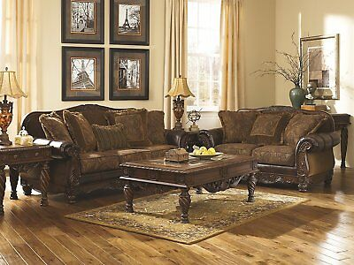 Ashley Furniture Fresco Durablend Antique Sofa And Loveseat Set 6310038