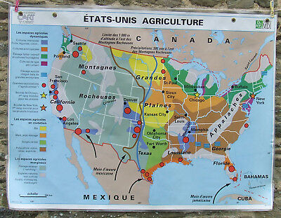 Vintage French HUGE School Poster USA Agriculture Industry MDI 1994 Double Sided