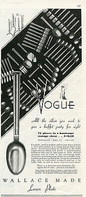 1935 Print Ad of Wallace Silversmiths The Vogue Silver Silverware