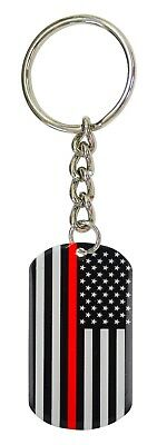 USA Flag Red Line Keychain Dog Tag Fire Department Honor  FAST USA SHIPPING